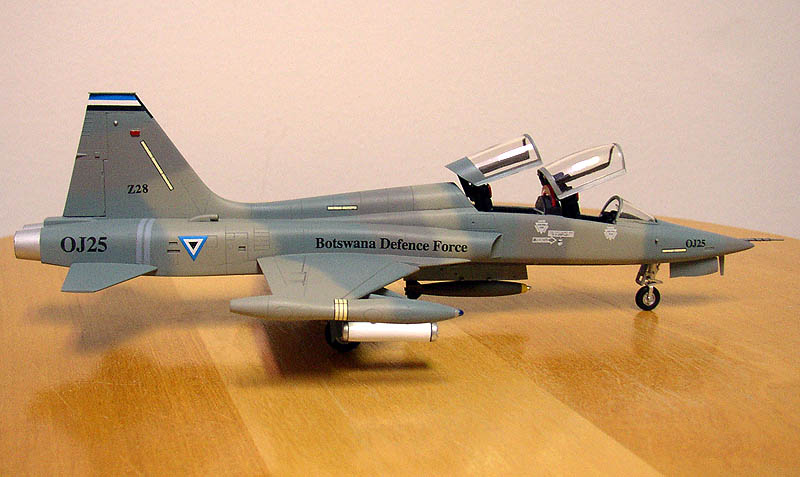 An ex-CAF F-5B in the markings of the Botswana Defence Force, as built by Fred Krause. Built from the 1/72 Esci kit.