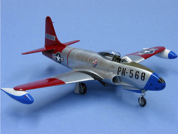 The old Monogram 1/48 P-80 spectacularly transformed by Tony Bell, who rescribed and rivetted the entire airframe.