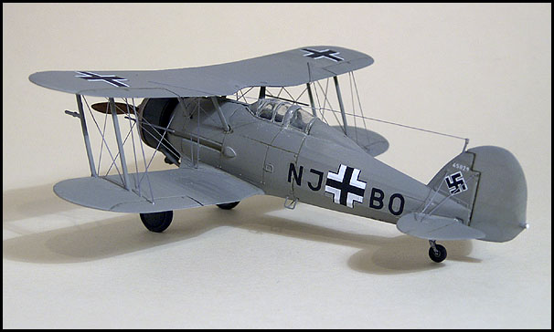 The Matchbox 1/72 Gladiator built by Bob Wolfenden in captured Luftwaffe markings. Stretched sprue was used for the rigging.