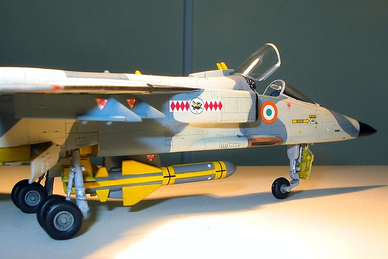Rupesh Santoshi converted the Hasegawa 1/72 Jaguar GR.1 to the unique Indian Maritime Jaguar IM. The large missile is a training round of the Sea Eagle AShM, which is attached to a modified centerline pylon
