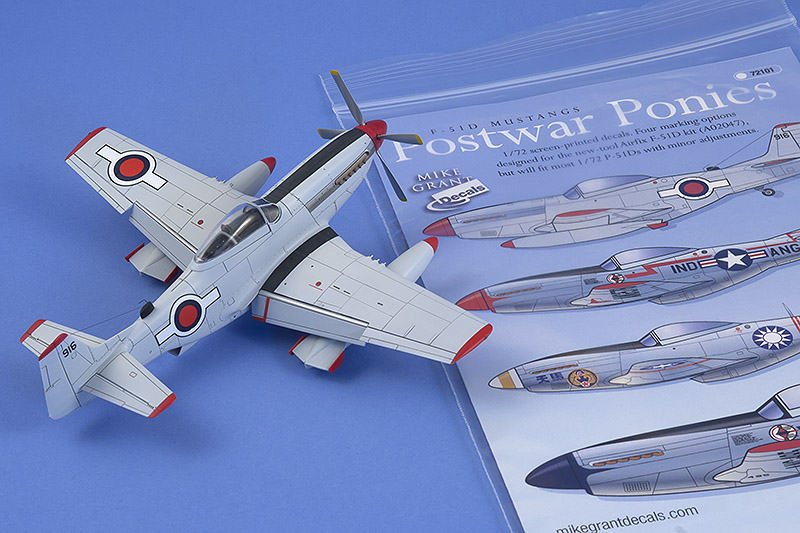 Airfix 1/72 F-51D finished in the Haitian markings from sheet 72-101, 'Postwar Ponies'
