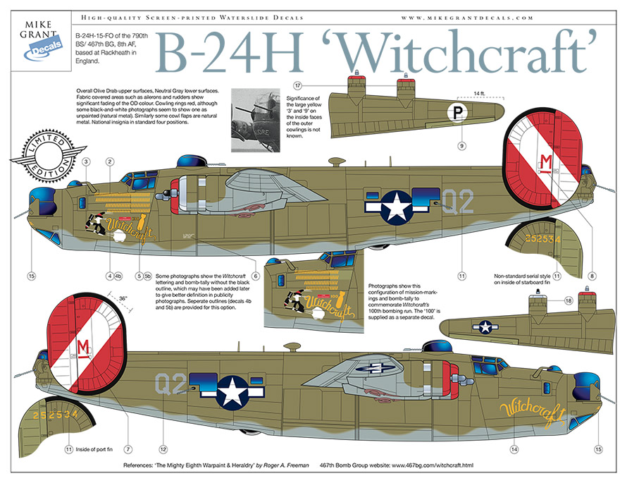 Mike Grant Decals 72050/48050 B-24H Witchcraft